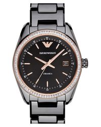 Emporio Armani | Black Crystal Bezel Ceramic Bracelet Watch | Lyst