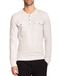Vince | White Long Sleeve Two-pocket Henley for Men | Lyst