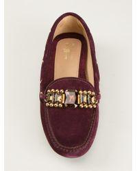 Car Shoe Purple Embellished Driving Shoes