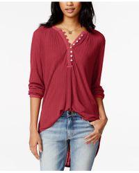 Lucky Brand - Long-sleeve Textured Henley - Lyst