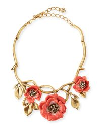 Oscar de la Renta | Metallic Painted Flower Statement Necklace | Lyst