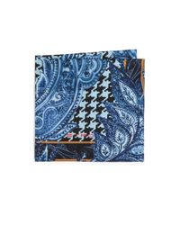 Etro | Blue Paisley & Houndstooth Silk Pocket Square for Men | Lyst