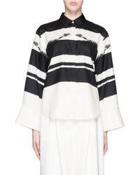 Ms Min Black Brushstroke Print Wide Sleeve Silk Shirt