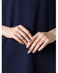 H&h - Metallic Three Stone Stacked Ring - Lyst