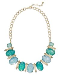 Style & Co. - Style&co. Mixed Metal Gold-plated Blue-green Oval Foil Necklace - Lyst