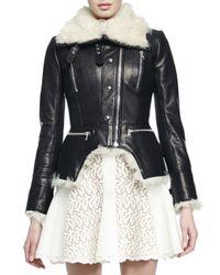 Alexander McQueen Black Shearling Fur Cutaway Moto Jacket