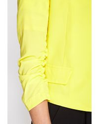 Forever 21 Yellow Collarless Ruched Sleeve Blazer