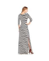Jessica Simpson - Black Three Quarter Sleeve Striped Maxi Dress - Lyst