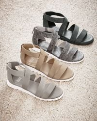 Eileen Fisher Natural Zone Leather Multi-strap Sandal