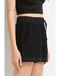 Forever 21 | Black Reversed French Terry Shorts | Lyst