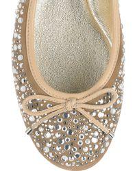 Jimmy Choo - Natural Weber Crystal-embellished Suede Ballet Flats - Lyst