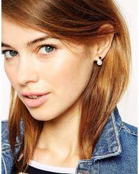ASOS | Black Faux Pearl Crystal Swing Earrings | Lyst