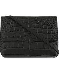 VINCE | Black Crocodile-embossed Leather Cross-body Bag | Lyst