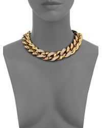 Michael Kors | Metallic Animal Instinct Pavé Curb Link Necklace | Lyst