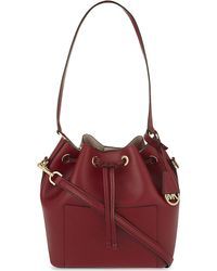 MICHAEL Michael Kors | Red Greenwich Medium Saffiano Bucket Bag | Lyst