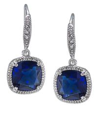 Carolee | Metallic Uptown Recolor Blue Cushion Drop Earrings | Lyst