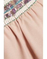 Saloni Brown Lorna Embellished Crepe Culottes