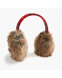 J.Crew | Red Faux-fur Earmuffs | Lyst