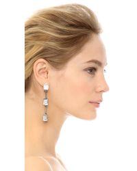 Oscar de la Renta Metallic Triple Octagon Stone Drop Earrings - Crystal/silver