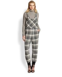 See By Chloé Gray Plaid Overalls Jumpsuit