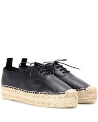 Saint Laurent Black Leather Espadrille-style Sneakers