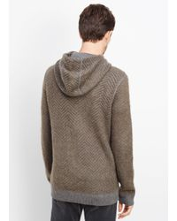 Vince - Green Brushed Mohair Blend Chevron Pullover Hoodie for Men - Lyst