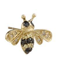 Sydney Evan | Metallic Mini Gold And Diamond Bumblebee Single Earring | Lyst