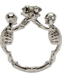 Alexander McQueen Metallic Silver Two Skeletons Ring
