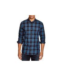 Scotch & Soda | Blue Flannel Plaid Slim Fit Button Down Shirt for Men | Lyst