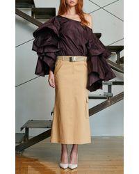 Rosie Assoulin - Brown Khaki Utility Cotton Cargo Skirt - Lyst