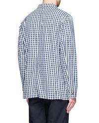 Beams Plus Blue Checker Cotton Blazer for men
