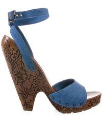 Stella McCartney | Blue Denim Sandal with Carved Wooden Heel | Lyst