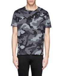 Valentino - Gray Camouflage Print T-shirt for Men - Lyst
