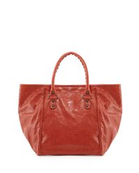 Balenciaga - Red Classic Sunday Small Tote Bag - Lyst