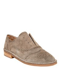 Steven by Steve Madden | Natural Deven Suede Brogue Oxfords | Lyst