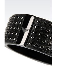 Emporio Armani - Black Ring in Steel and Leather for Men - Lyst