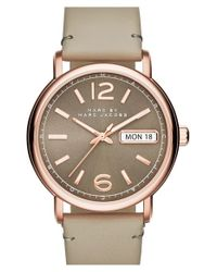 Marc Jacobs Gray 'fergus' Leather Strap Watch
