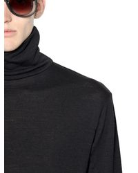 April77 Black Wool Turtleneck Sweater for men