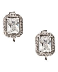 Carolee - White Rectangular Button Crystal Clip Earrings - Lyst