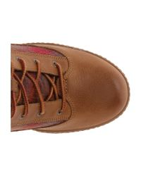 Timberland Brown Glancy Fabric And Leather Hiker