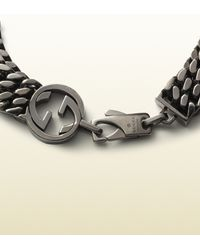 Gucci Metallic Online Exclusive Silver Bracelet With Interlocking G Detail for men