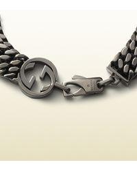 Gucci | Metallic Online Exclusive Silver Bracelet With Interlocking G Detail for Men | Lyst
