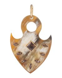 Ashley Pittman | Brown Tribal Shield Pendant W/whiskey Topaz | Lyst