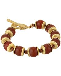 Lauren by Ralph Lauren - Brown Caravan 7 12 Beads with Textured Caps with Ring and Toggle Bracelet - Lyst