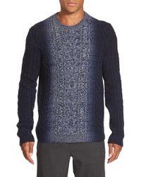 Vince Blue Marled Degrade Wool & Cashmere Crewneck Sweater for men