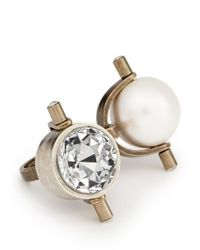 Lanvin - Metallic Pearl Strass Head Brass Ring - Lyst