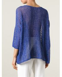 M Missoni - Blue Open Knit Top - Lyst
