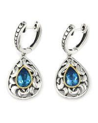 Effy | Blue Topaz, Sterling Silver And 18k Yellow Gold Drop Earrings | Lyst