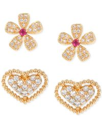 Betsey Johnson | Metallic Gold-tone Imitation Pearl And Crystal Hearts And Bows Earring Set | Lyst