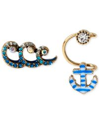 Betsey Johnson - Blue Gold-Tone Anchor Cuff And Wave Stud Earring Set - Lyst